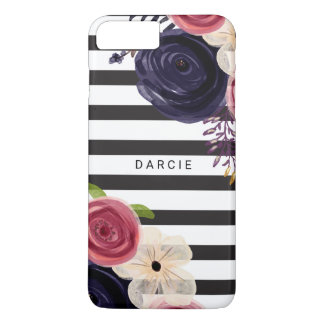 Flowers Black White Striped Personalized iPhone 8 Plus/7 Plus Case