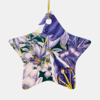 flowers blue art christmas ornament