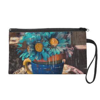 flowers blue bagette wristlet