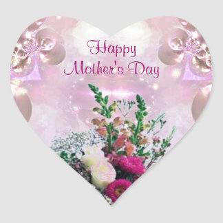 Flowers Bouquet - Mother's Day Heart Sticker