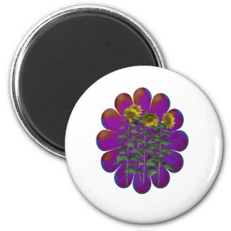 FLowers Budding 6 Cm Round Magnet