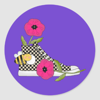 Flowers Bugs Sneakers All Products Kids Stuff Round Sticker