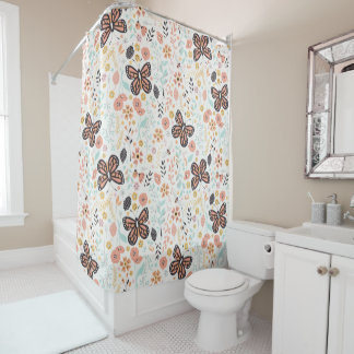Flowers Butterflies And Bees Shower Curtain
