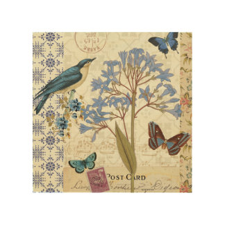 Flowers, Butterflies, and Bird Collage Wood Canvases