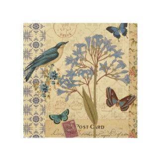 Flowers, Butterflies, and Bird Collage Wood Wall Art