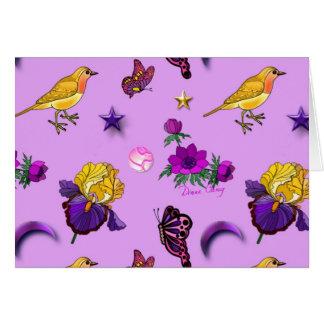 Flowers & Butterflies - Birds & Stars Greeting Card