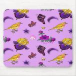 Flowers & Butterflies - Birds & Stars Mouse Mat