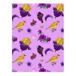 Flowers & Butterflies - Birds & Stars Post Card