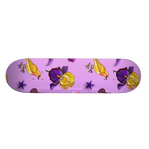 Flowers & Butterflies - Birds & Stars Skateboard Deck