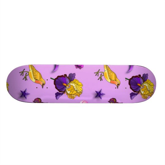 Flowers & Butterflies - Birds & Stars Skateboard Deck