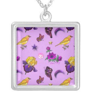 Flowers & Butterflies - Birds & Stars Square Pendant Necklace