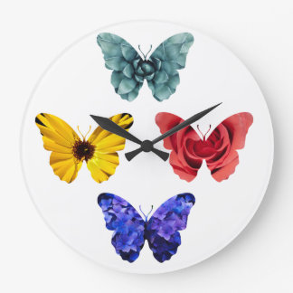 Flowers butterfly silhouettes large clock