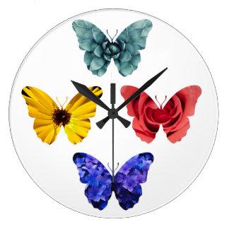 Flowers butterfly silhouettes wallclock