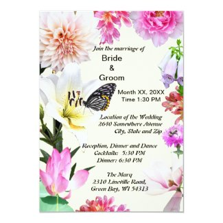 Flowers & Butterfly Wedding Invitation