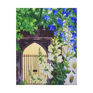Flowers by a sunlit gateway 2008 canvas prints