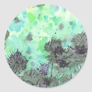Flowers by the Pond Classic Round Sticker