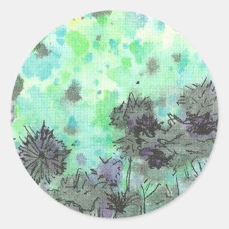 Flowers by the Pond Round Sticker