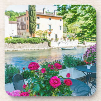 Flowers by the river hard plastic coasters