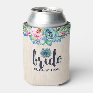 Flowers & Cactus Flowers Bride-Modern Typography Can Cooler