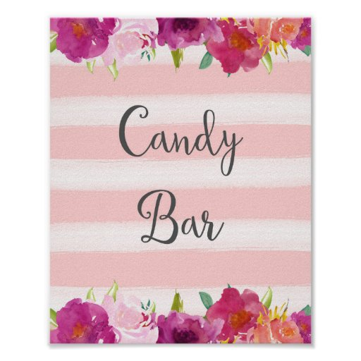 Flowers Candy Bar Wedding Poster Print
