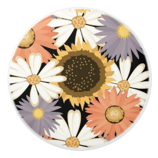Flowers Ceramic Door Knob