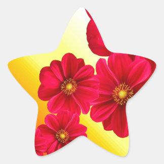 Flowers Colorful Pattern Spring Garden Dahlia Art Star Sticker
