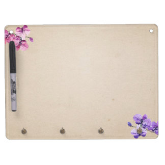 Flowers decoration dry erase board with key ring holder