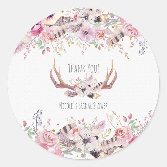 Flowers & Deer Antlers Rustic Wedding Favour Classic