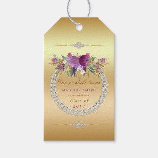 Flowers Diamonds Graduation Congratulations Gold Gift Tags