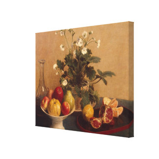 Flowers, dish with fruit and carafe, 1865 canvas print