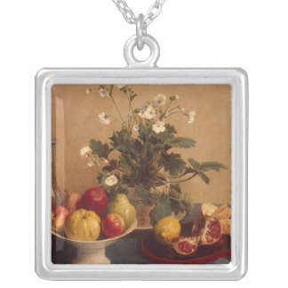 Flowers, dish with fruit and carafe, 1865 silver plated necklace
