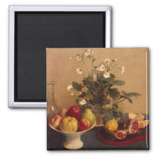 Flowers, dish with fruit and carafe, 1865 square magnet
