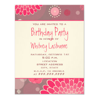 Flowers & Dots Birthday Party Invite