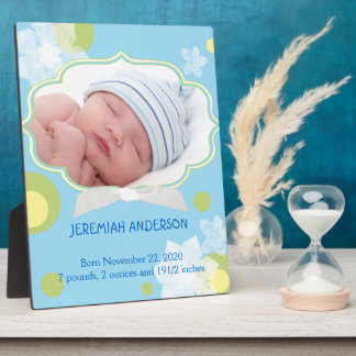 Flowers & Dots New Baby Boy Birth Photo Plaques