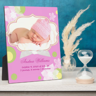 Flowers & Dots New Baby Girl Birth Photo Plaques