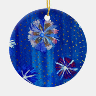 Flowers Drawing Blue  Circle Ornament