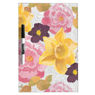Flowers Dry Erase White Board