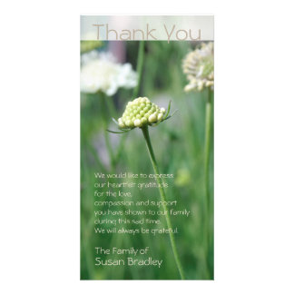 Flowers Fields Floral Photo Sympathy Thank You Card