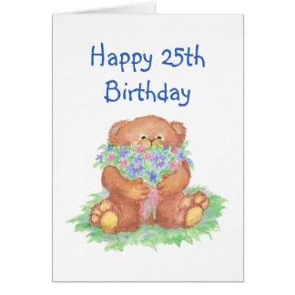 Flowers for 25th Birthday Cute Teddy Bear Cards