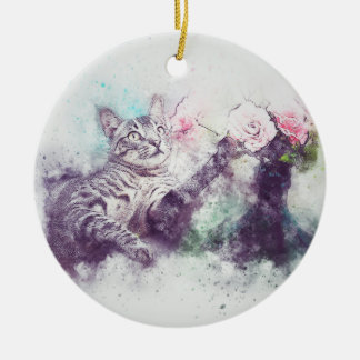 Flowers for Kitty | Abstract | Watercolor Christmas Ornament