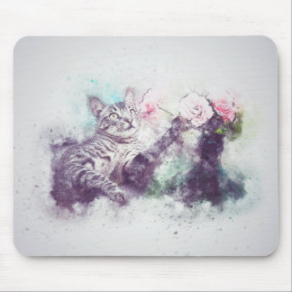 Flowers for Kitty | Abstract | Watercolor Mouse Mat