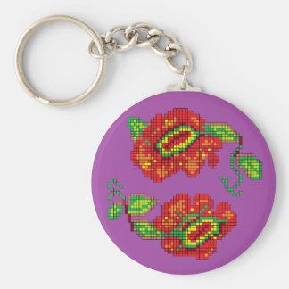 Flowers For My Belle II - Purple Bkg Key Chains