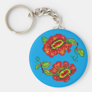 Flowers For My Belle II - Turquoise Bkg Keychain