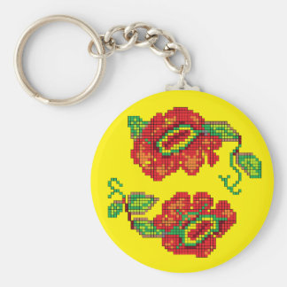 Flowers For My Belle II - Yellow Bkg Key Chain