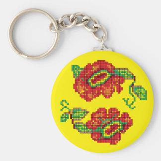 Flowers For My Belle II - Yellow Bkg. Key Ring