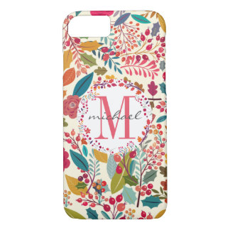 Flowers & Forest Autumn Leaves Pattern Monogram iPhone 8/7 Case