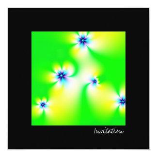 "Flowers · Fractal Art · Green 5.25"" Square Invitation Card"