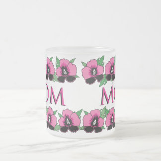 Flowers - frosted glass mug