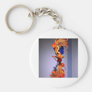 Flowers, funky lady basic round button key ring