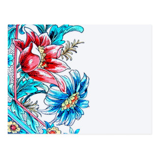 Flowers Graphic Design, Blue and Red, White Back Postcard